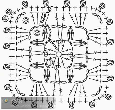 квадратные мотивы для вязания крючком