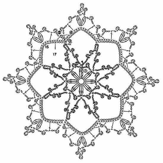 Схема вязания снежинки крючком и схемы к ним 82