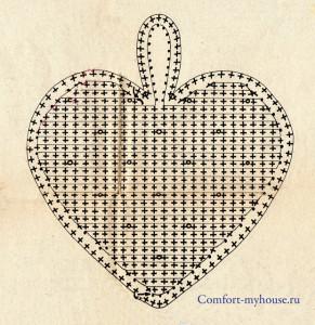 подушка сердечко крючком