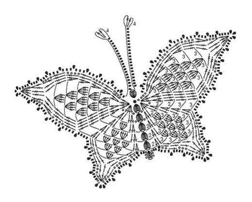 Схемы вязания крючком бабочек цветочков