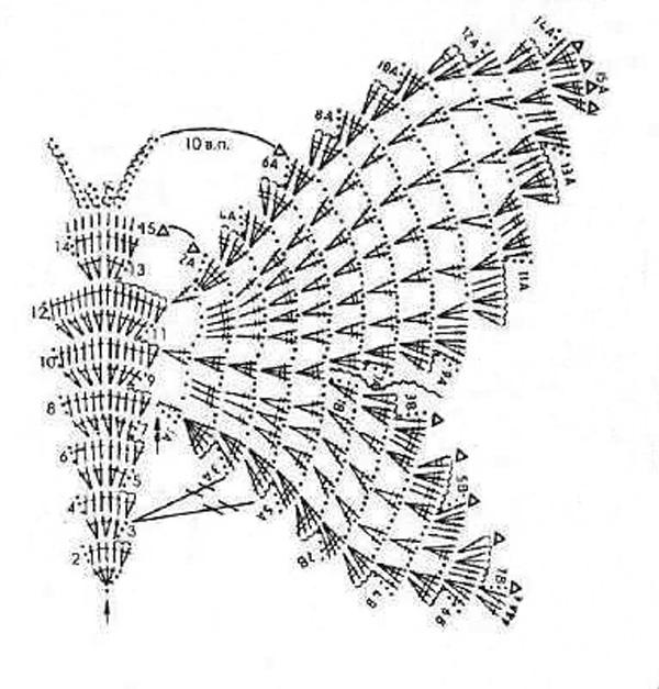 вязаная бабочка схема 3