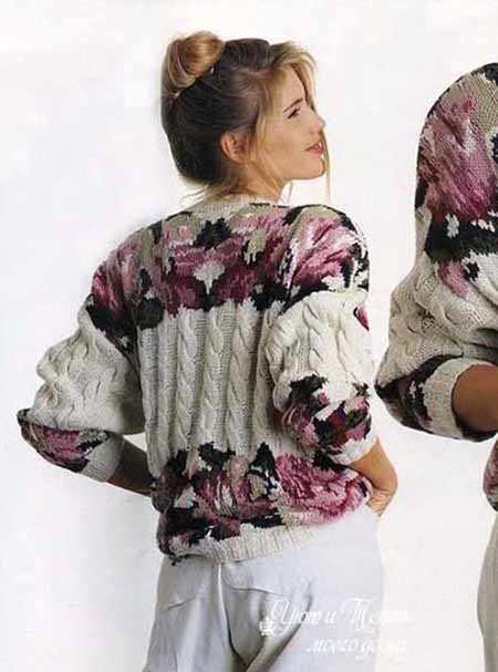 pulover s rozami intarsiya