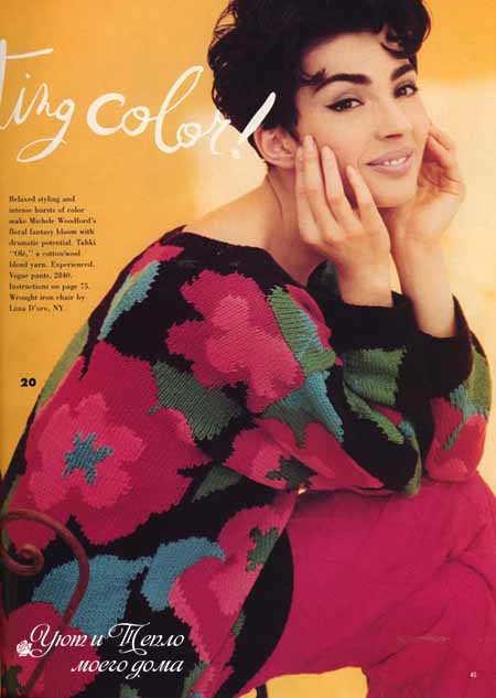 zhenskij pulover s cvetami