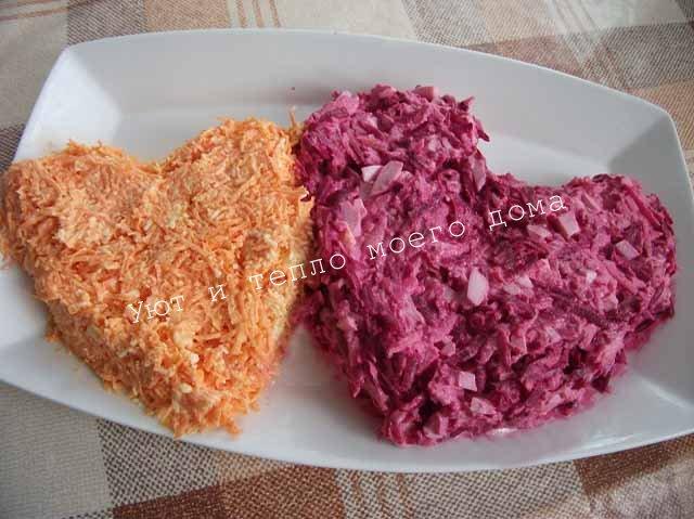 salat iz svekly i morkovi s syrom v vide serdec