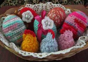 вязаные пасхальные яйца