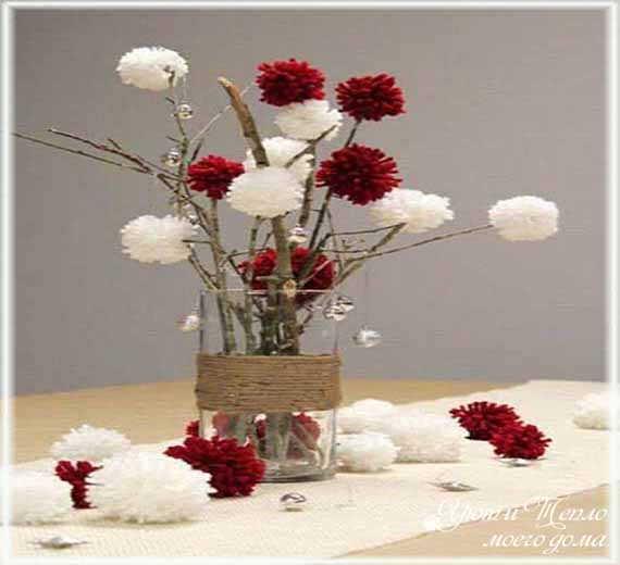 cvety iz pomponov