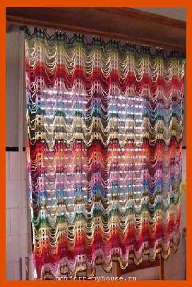модные вязаные шторы крючком со схемами и описанием уют и тепло