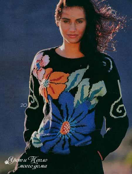pulover s krupnymi cvetami