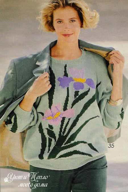pulover s cvetochnym uzorom