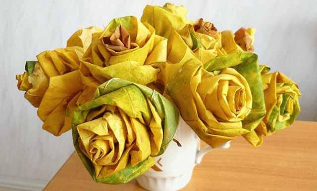 buket roz iz listev klena
