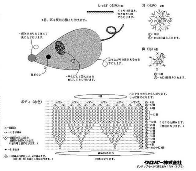схема вязания простой мышки