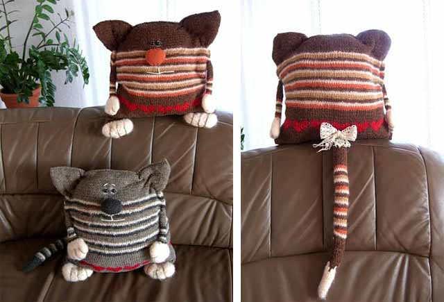 vyazanye podushki koty