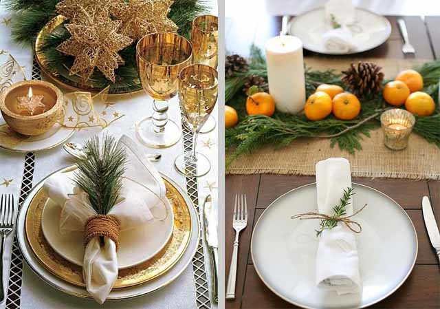 stolovye pribory na novogodnem stole