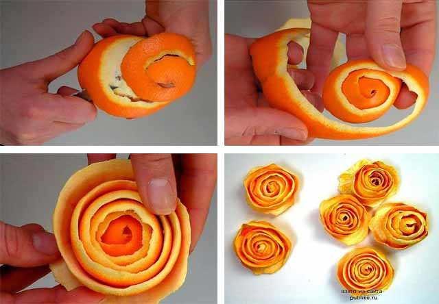 kak sdelat' rozu iz mandarin