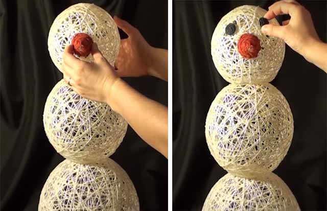 kreplenie nosa i glaz snegoviku iz nitok