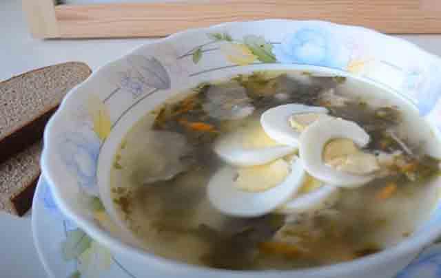 sup iz krapivy s yajcom v tarelke