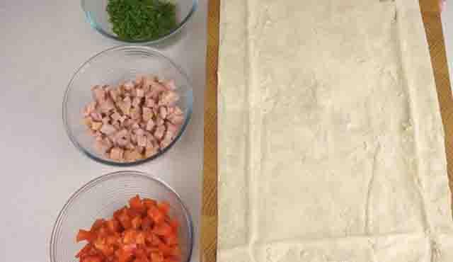 narezannye produkty dlya nachinki i list lavasha