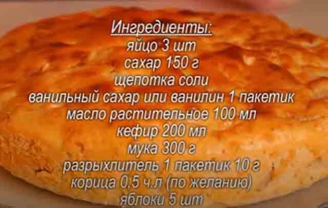 ingredienty piroga s yablokami na kefire