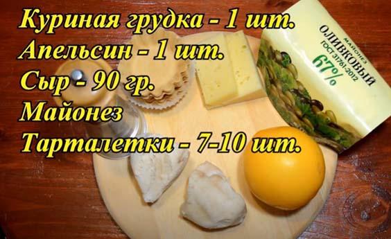 ingredienty s grudkoj i apel'sinom dlya tartaletok