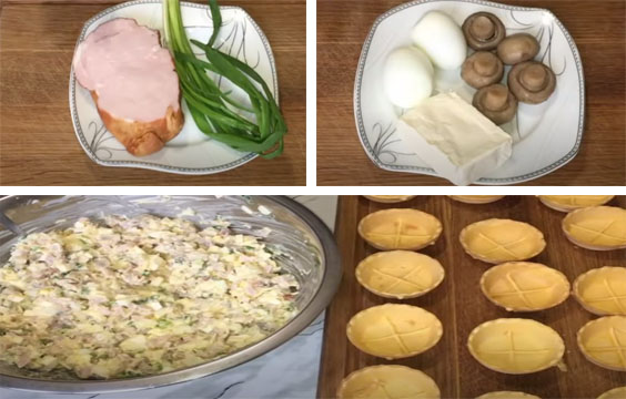prigotovlenie salata s vetchinoj v tartaletkah